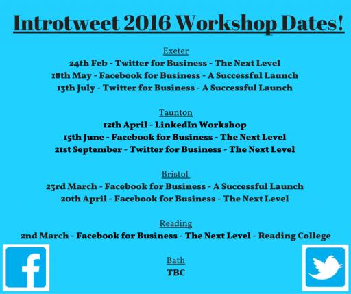 Our 2016 Workshop Dates!